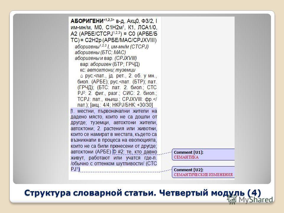 Структура словарной статьи. Четвертый модуль (4)