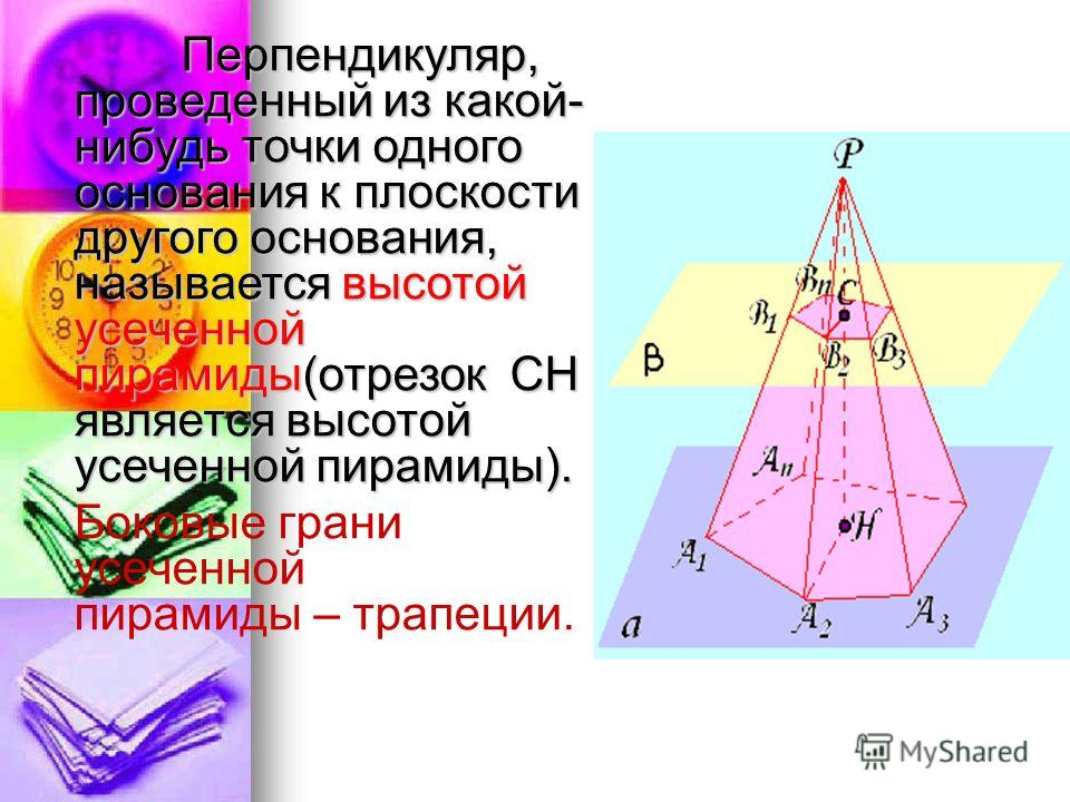 расположены в параллельных плоскостях, и n четырехугольников расположены в параллельных плоскостях, и n четырехугольников A 1 A 2 B 2 B 1, A 2 A 3 B 3 B 2, …, A n A 1 B 1 B n (боковые грани), называется усеченной пирамидой. A 1 B 1, A 2 B 2, …, A n B