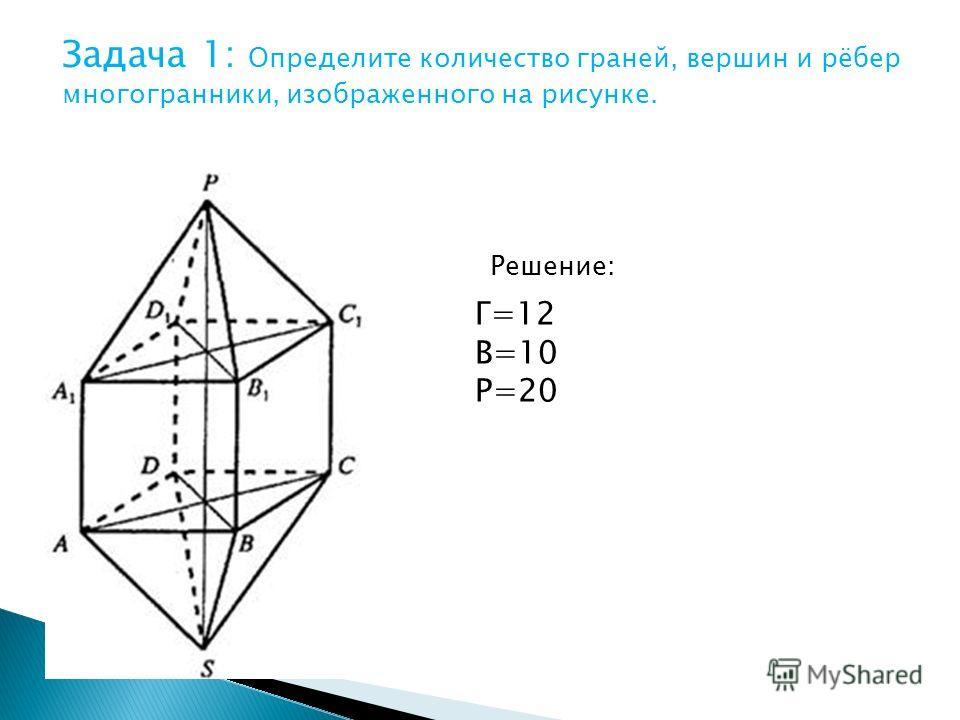 Задача 1: Определите количество граней, вершин и рёбер многогранники, изображенного на рисунке. Решение: Г=12 В=10 Р=20