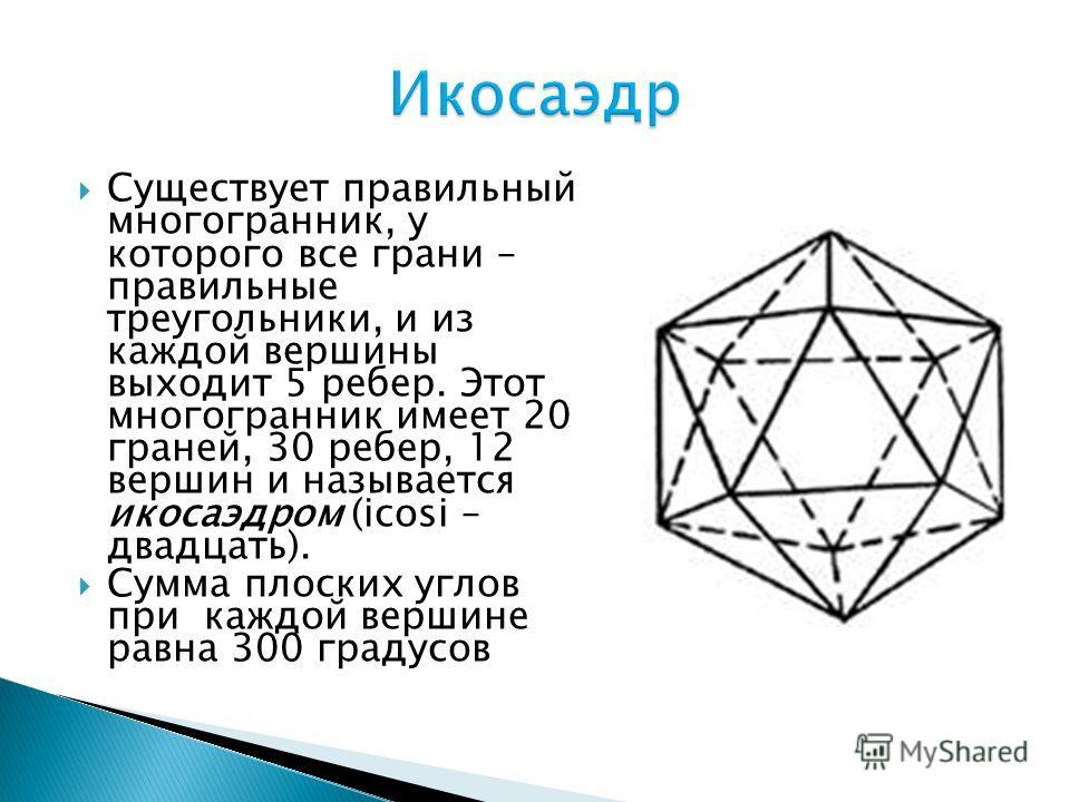 Существует правильный многогранник, у которого все грани – правильные треугольники, и из каждой вершины выходит 5 ребер. Этот многогранник имеет 20 граней, 30 ребер, 12 вершин и называется икосаэдром (icosi – двадцать). Сумма плоских углов при каждой