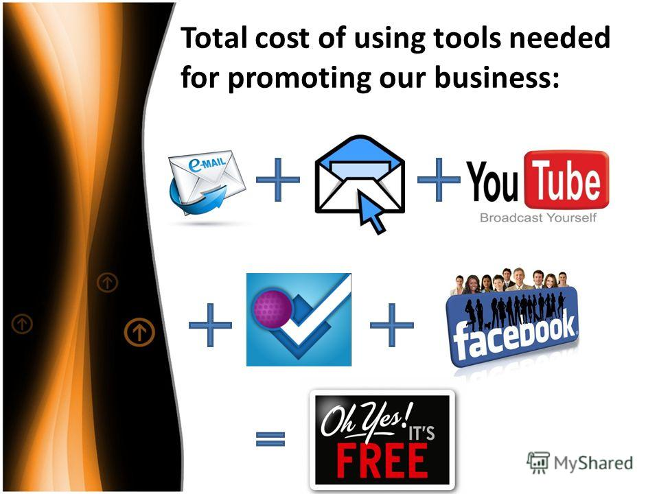 Total cost of using tools needed for promoting our business: