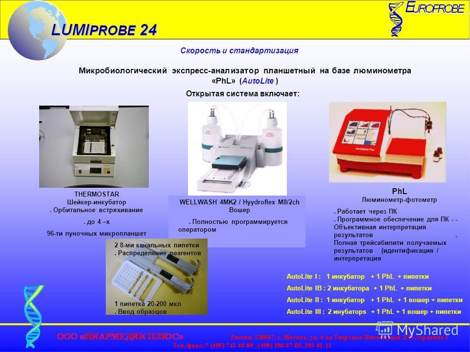 Скорость и стандартизация Микробиологический экспресс-анализатор планшетный на базе люминометра «PhL» (AutoLite ) Открытая система включает: THERMOSTAR Шейкер-инкубатор. Орбитальное встряхивание. до 4 –х 96-ти луночных микропланшет WELLWASH 4MK2 / Hy