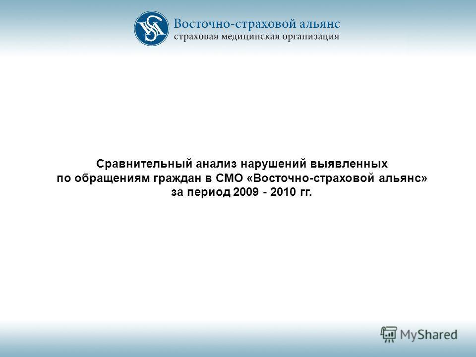 Сравнительный анализ нарушений выявленных по обращениям граждан в СМО «Восточно-страховой альянс» за период 2009 - 2010 гг.