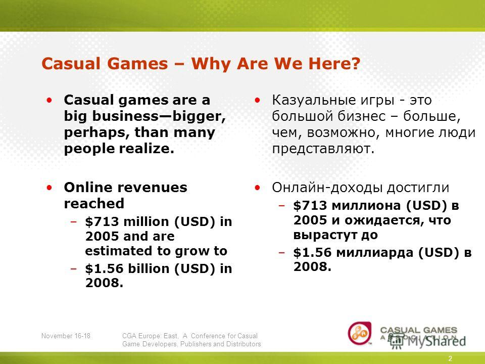 November 16-18CGA Europe: East, A Conference for Casual Game Developers, Publishers and Distributors 2 Casual Games – Why Are We Here? Casual games are a big businessbigger, perhaps, than many people realize. Online revenues reached –$713 million (US