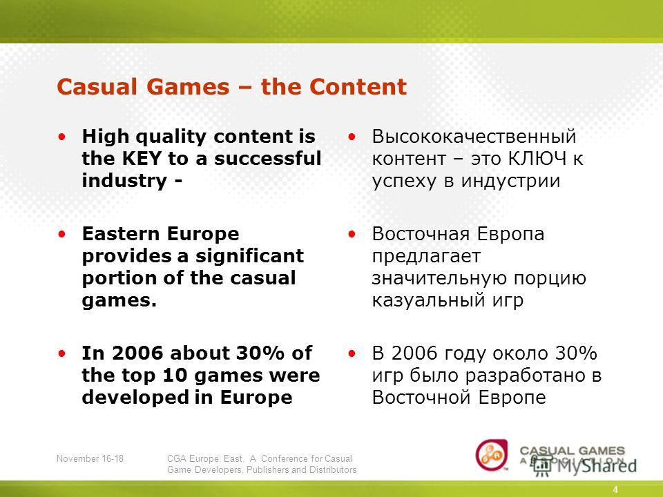 November 16-18CGA Europe: East, A Conference for Casual Game Developers, Publishers and Distributors 4 Casual Games – the Content High quality content is the KEY to a successful industry - Eastern Europe provides a significant portion of the casual g