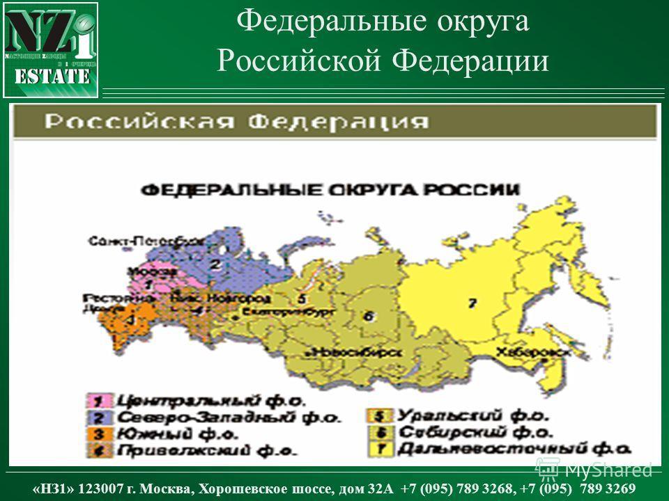 Федеральные округа Российской Федерации «НЗ1» 123007 г. Москва, Хорошевское шоссе, дом 32А +7 (095) 789 3268, +7 (095) 789 3269