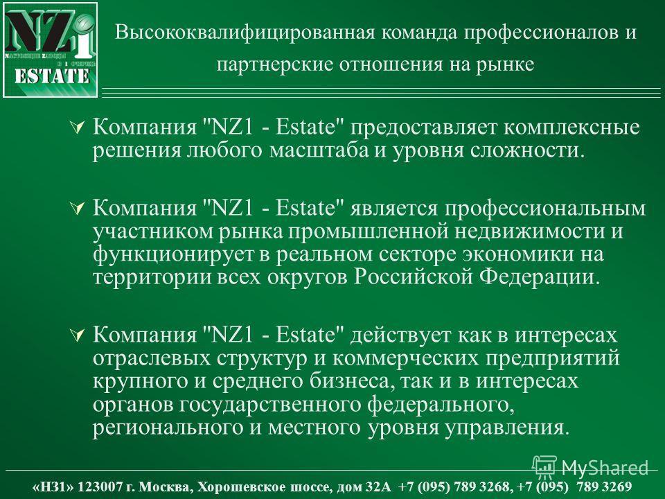 «НЗ1» 123007 г. Москва, Хорошевское шоссе, дом 32А +7 (095) 789 3268, +7 (095) 789 3269 Компания