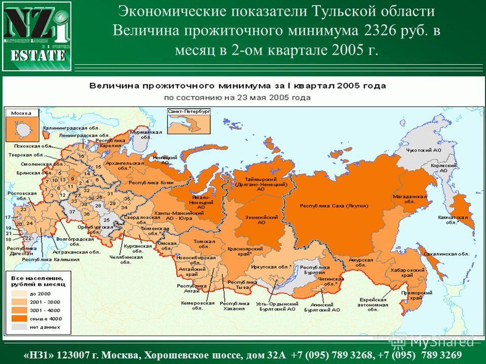 Экономические показатели Тульской области Величина прожиточного минимума 2326 руб. в месяц в 2-ом квартале 2005 г. «НЗ1» 123007 г. Москва, Хорошевское шоссе, дом 32А +7 (095) 789 3268, +7 (095) 789 3269