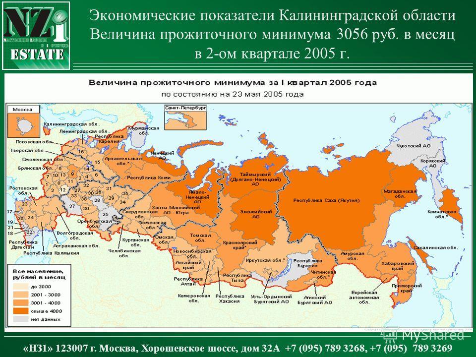 Экономические показатели Калининградской области Величина прожиточного минимума 3056 руб. в месяц в 2-ом квартале 2005 г. «НЗ1» 123007 г. Москва, Хорошевское шоссе, дом 32А +7 (095) 789 3268, +7 (095) 789 3269