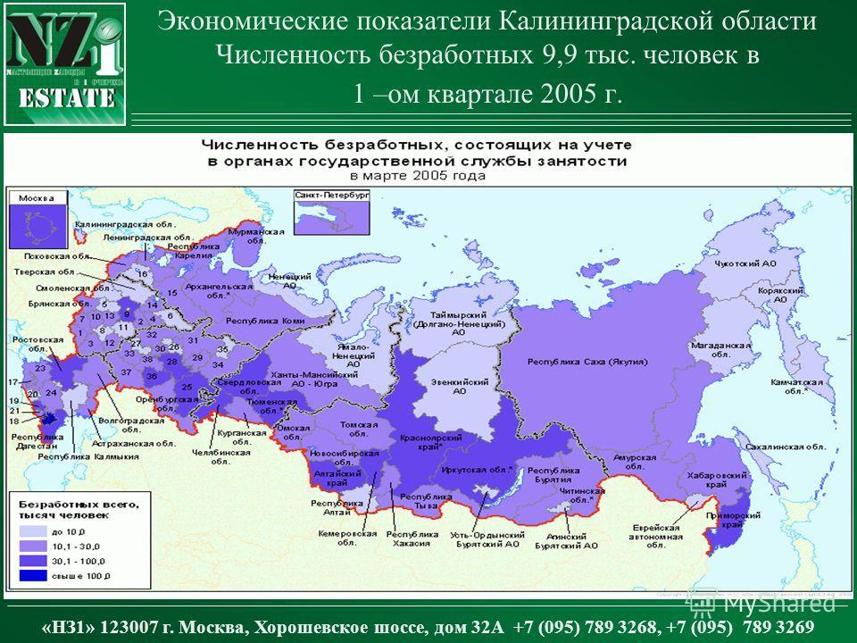 Экономические показатели Калининградской области Численность безработных 9,9 тыс. человек в 1 –ом квартале 2005 г. «НЗ1» 123007 г. Москва, Хорошевское шоссе, дом 32А +7 (095) 789 3268, +7 (095) 789 3269