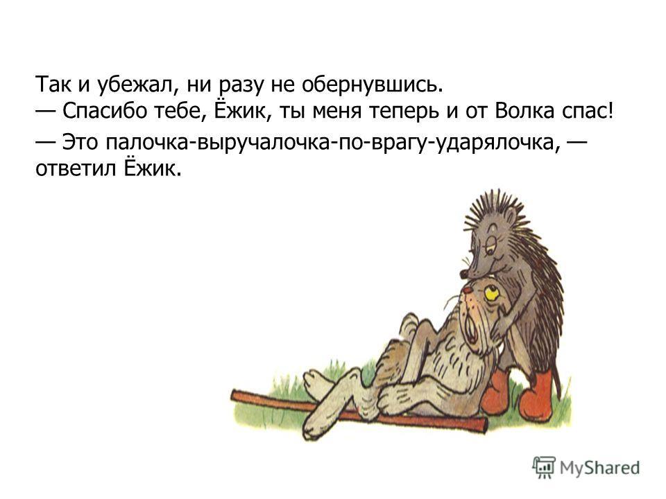 Это палочка-выручалочка-по-врагу-ударялочка, ответил Ёжик. Так и убежал, ни разу не обернувшись. Спасибо тебе, Ёжик, ты меня теперь и от Волка спас!