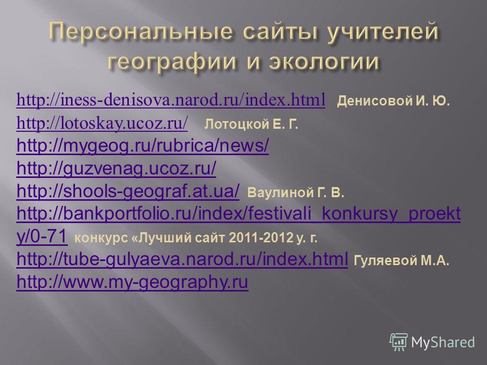 http://iness-denisova.narod.ru/index.htmlhttp://iness-denisova.narod.ru/index.html Денисовой И. Ю. http://lotoskay.ucoz.ru/http://lotoskay.ucoz.ru/ Лотоцкой Е. Г. http://mygeog.ru/rubrica/news/ http://guzvenag.ucoz.ru/ http://shools-geograf.at.ua/htt