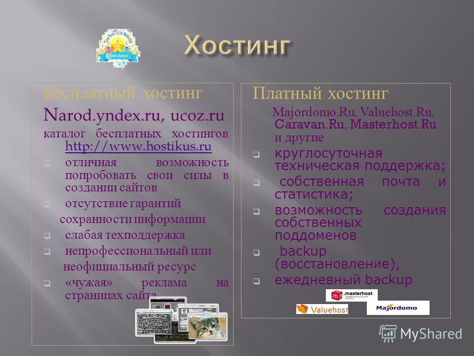 Бесплатный хостинг N arod.yndex.ru, ucoz.ru каталог бесплатных хостингов http://www.hostikus.ru http://www.hostikus.ru отличная возможность попробовать свои силы в создании сайтов отсутствие гарантий сохранности информации слабая техподдержка непрофе