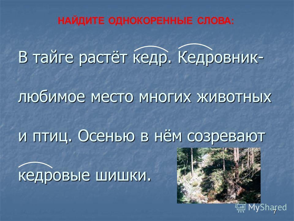 6 Гриб,грибной,грибник,грибок. Гора,горняк,горный. Лес, лесной, лесник.