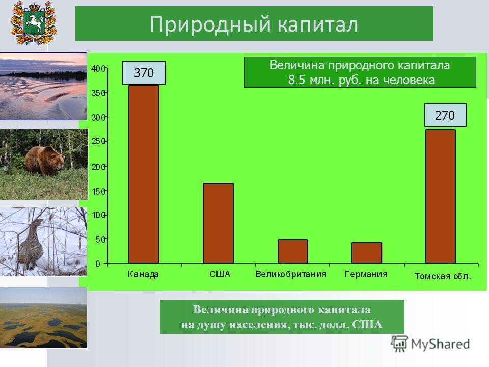 Природный капитал Величина природного капитала на душу населения, тыс. долл. США 370 270 Величина природного капитала 8.5 млн. руб. на человека