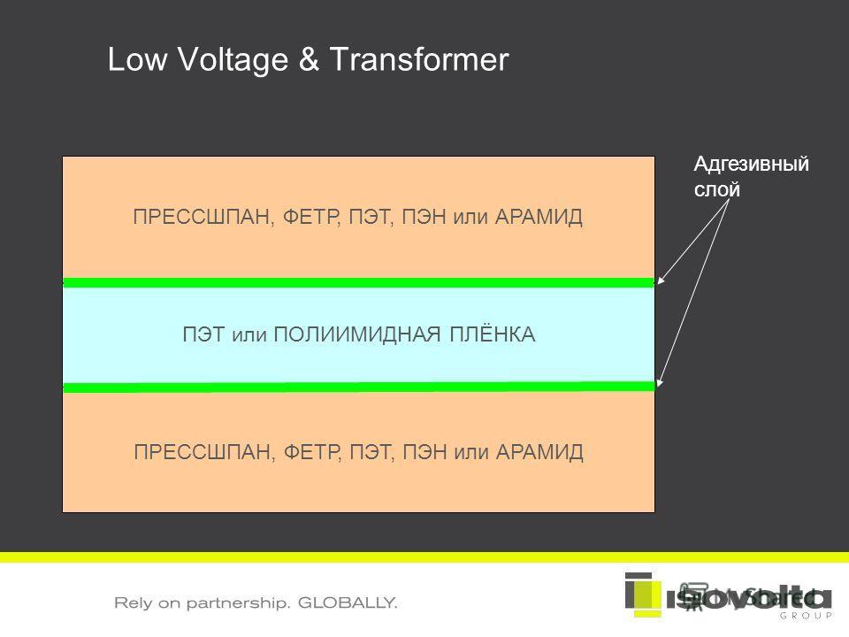 Low Voltage & Transformer ПЭТ или ПОЛИИМИДНАЯ ПЛЁНКА Адгезивный слой ПРЕССШПАН, ФЕТР, ПЭТ, ПЭН или АРАМИД