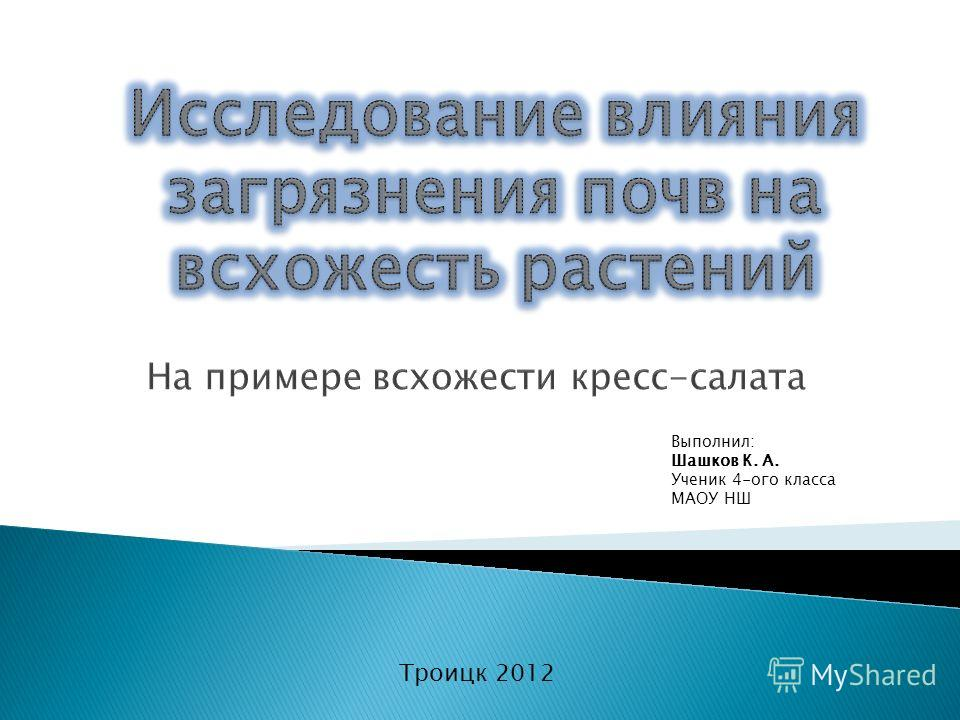 Выполнил: Шашков К. А. Ученик 4-ого класса МАОУ НШ Троицк 2012