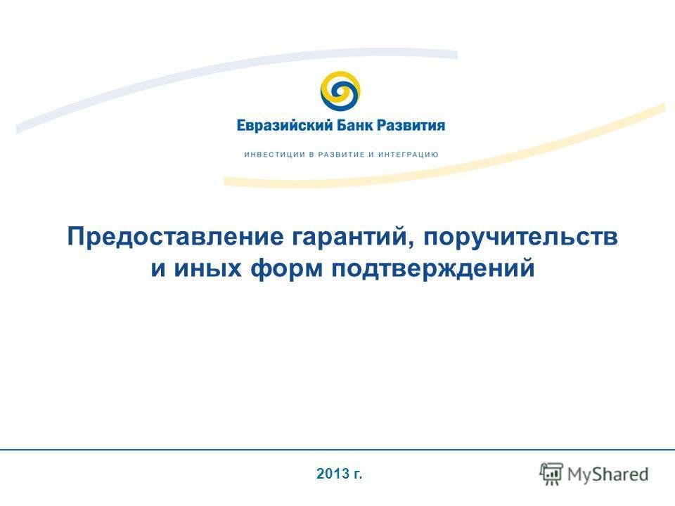 2013 г. Предоставление гарантий, поручительств и иных форм подтверждений