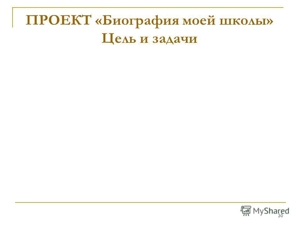 30 ПРОЕКТ «Биография моей школы» Цель и задачи