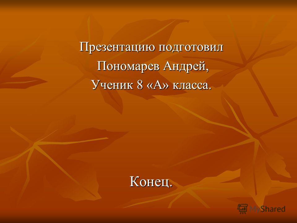 Презентацию подготовил Пономарев Андрей, Пономарев Андрей, Ученик 8 «А» класса. Конец.