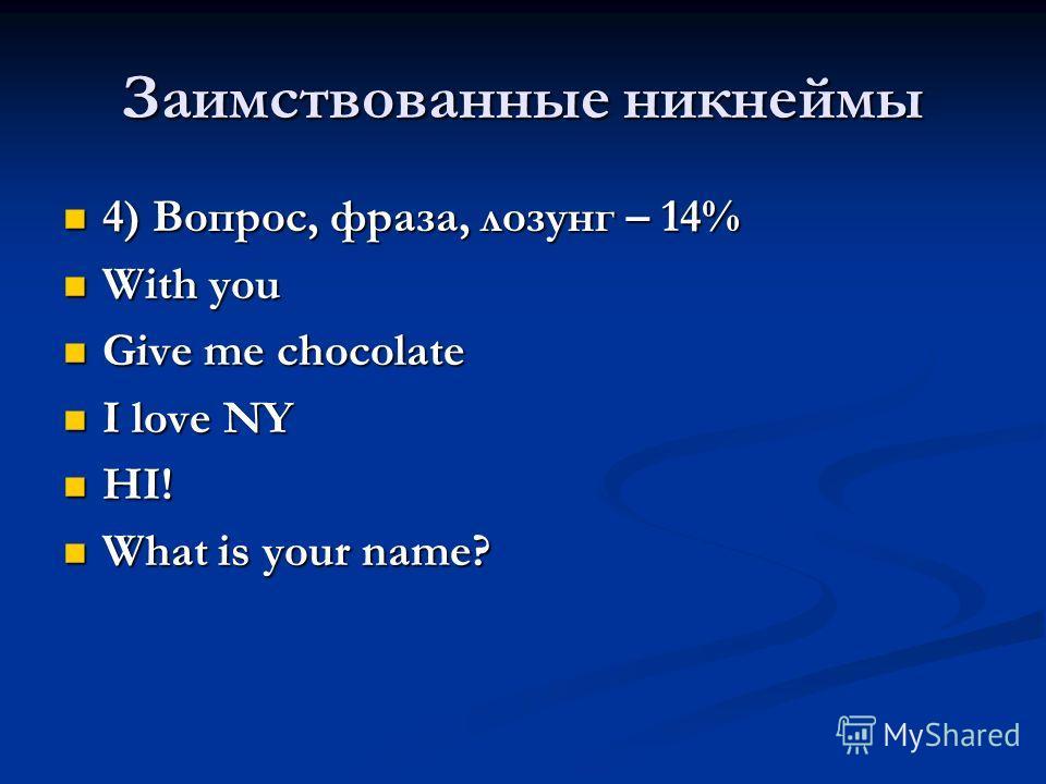 Заимствованные никнеймы 4) Вопрос, фраза, лозунг – 14% 4) Вопрос, фраза, лозунг – 14% With you With you Give me chocolate Give me chocolate I love NY I love NY HI! HI! What is your name? What is your name?