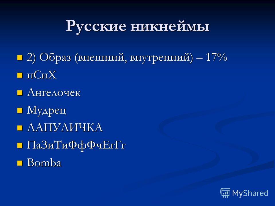 Русские никнеймы 2) Образ (внешний, внутренний) – 17% 2) Образ (внешний, внутренний) – 17% пСиХ пСиХ Ангелочек Ангелочек Мудрец Мудрец ЛАПУЛИЧКА ЛАПУЛИЧКА ПаЗиТиФфФчЕгГг ПаЗиТиФфФчЕгГг Bomba Bomba