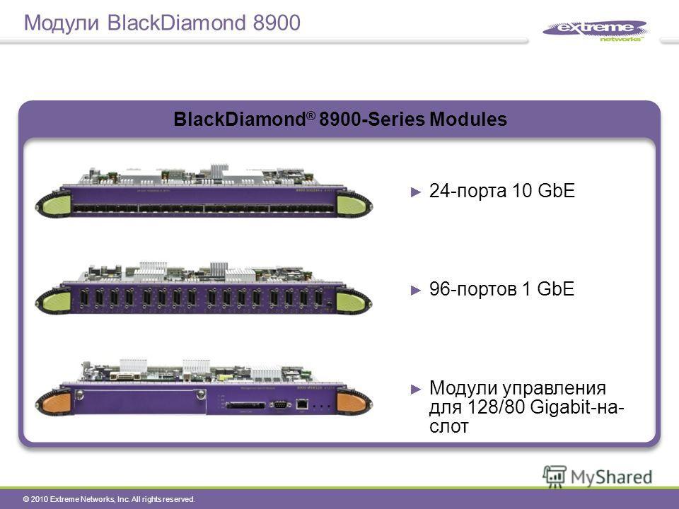 © 2010 Extreme Networks, Inc. All rights reserved. Модули BlackDiamond 8900 BlackDiamond ® 8900-Series Modules 24-порта 10 GbE 96-портов 1 GbE Модули управления для 128/80 Gigabit-на- слот