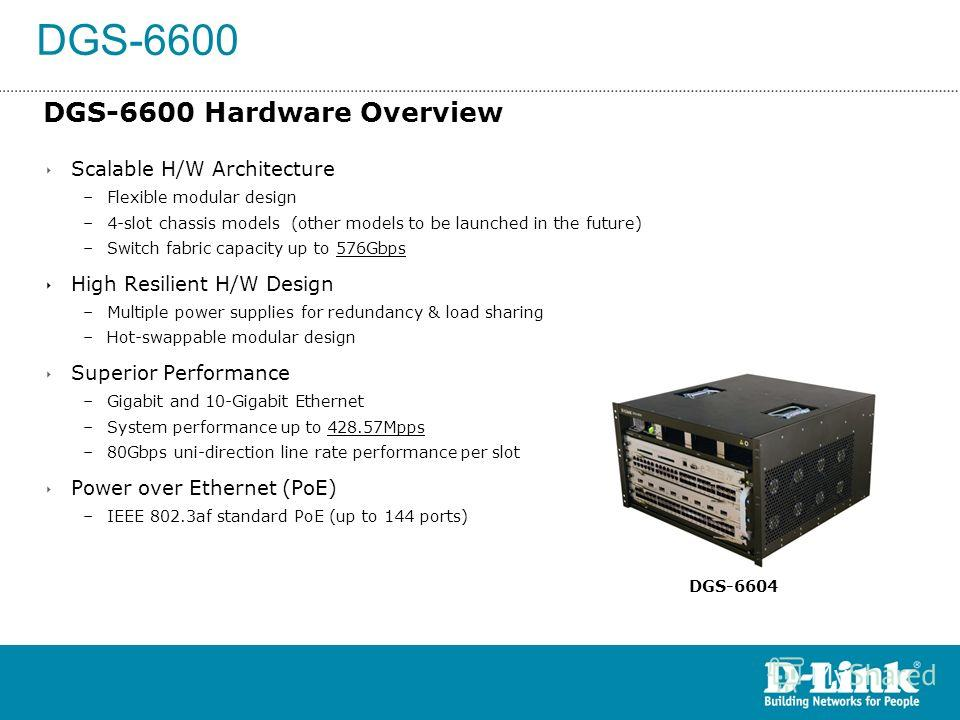 DGS-6600 DGS-6600 Hardware Overview Scalable H/W Architecture –Flexible modular design –4-slot chassis models (other models to be launched in the future) –Switch fabric capacity up to 576Gbps High Resilient H/W Design –Multiple power supplies for red