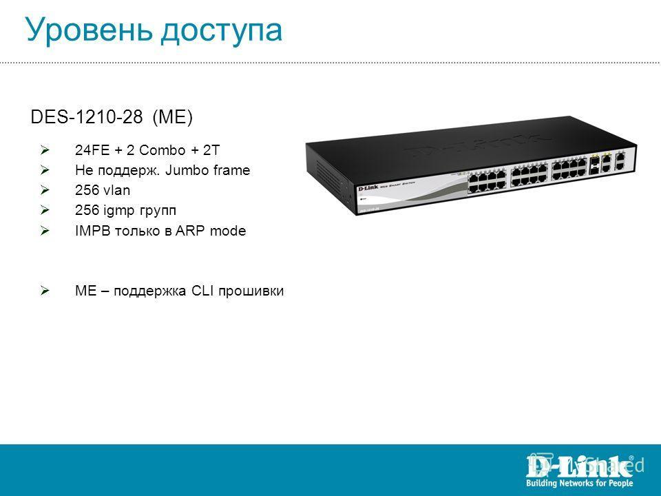 Уровень доступа DES-1210-28 (ME) 24FE + 2 Combo + 2T Не поддерж. Jumbo frame 256 vlan 256 igmp групп IMPB только в ARP mode ME – поддержка CLI прошивки