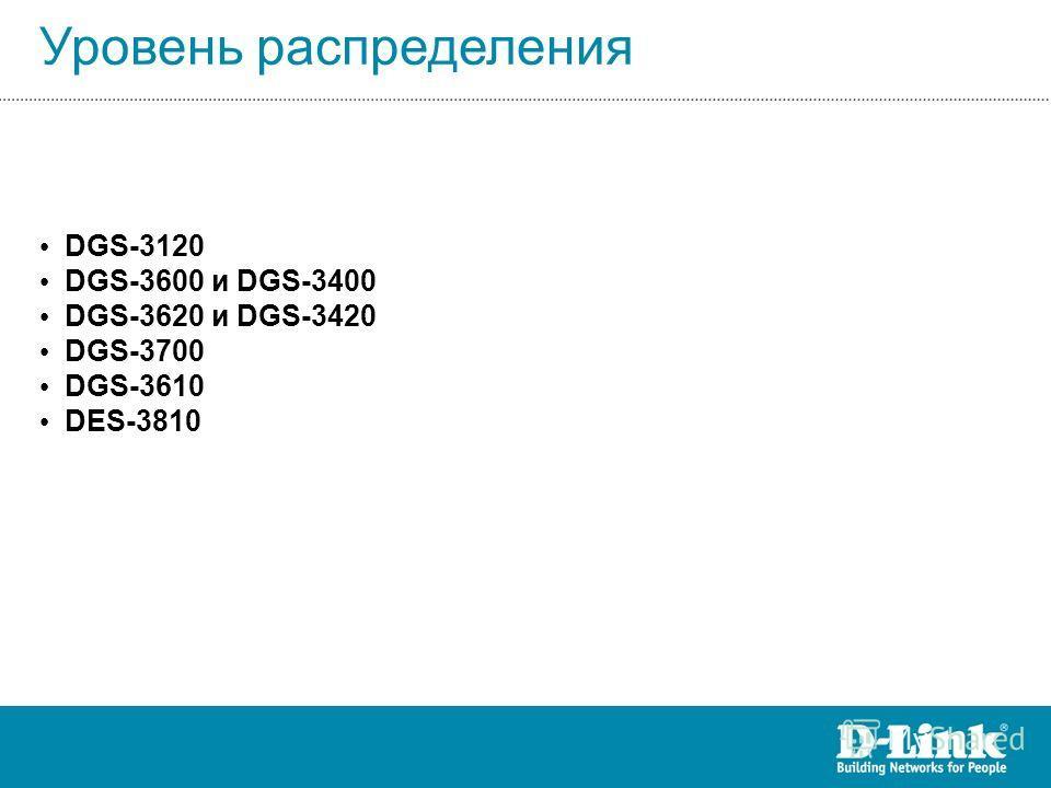 Уровень распределения DGS-3120 DGS-3600 и DGS-3400 DGS-3620 и DGS-3420 DGS-3700 DGS-3610 DES-3810