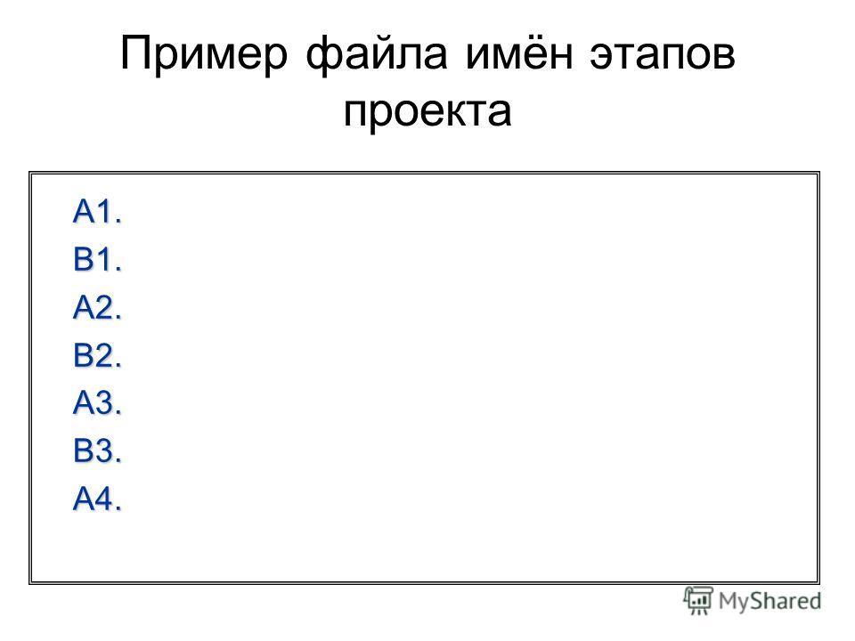 Пример файла имён этапов проекта A1. B1. A2. B2. A3. B3. A4.