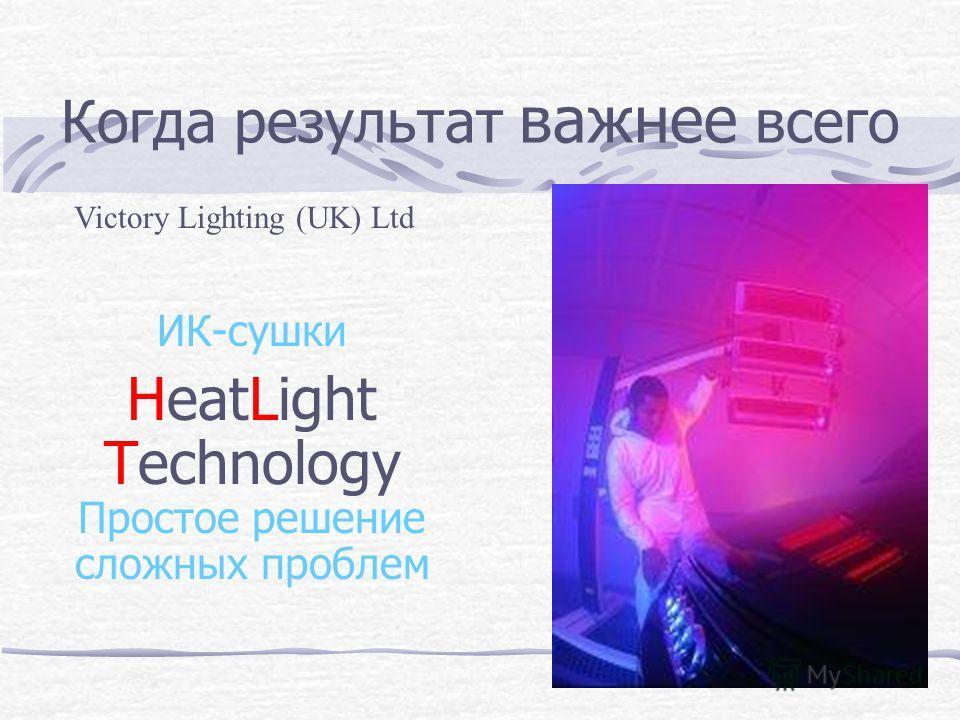 Когда результат важнее всего ИК-сушки HeatLight Technology Простое решение сложных проблем Victory Lighting (UK) Ltd
