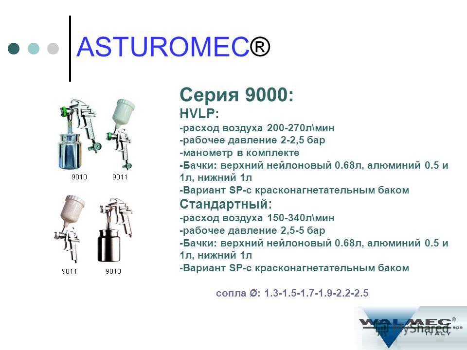 Серия 9000: HVLP: -расход воздуха 200-270л\мин -рабочее давление 2-2,5 бар -манометр в комплекте -Бачки: верхний нейлоновый 0.68л, алюминий 0.5 и 1л, нижний 1л -Вариант SP-с красконагнетательным баком Стандартный: -расход воздуха 150-340л\мин -рабоче