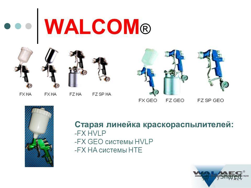 WALCOM ® Старая линейка краскораспылителей: -FX HVLP -FX GEO системы HVLP -FX HA системы HTE