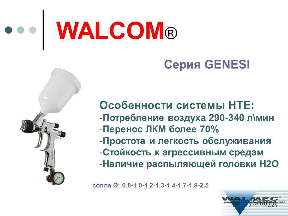 Серия GENESI WALCOM ® Особенности системы HTE: -Потребление воздуха 290-340 л\мин -Перенос ЛКМ более 70% -Простота и легкость обслуживания -Стойкость к агрессивным средам -Наличие распыляющей головки H2O сопла Ø: 0.8-1.0-1.2-1.3-1.4-1.7-1.9-2.5