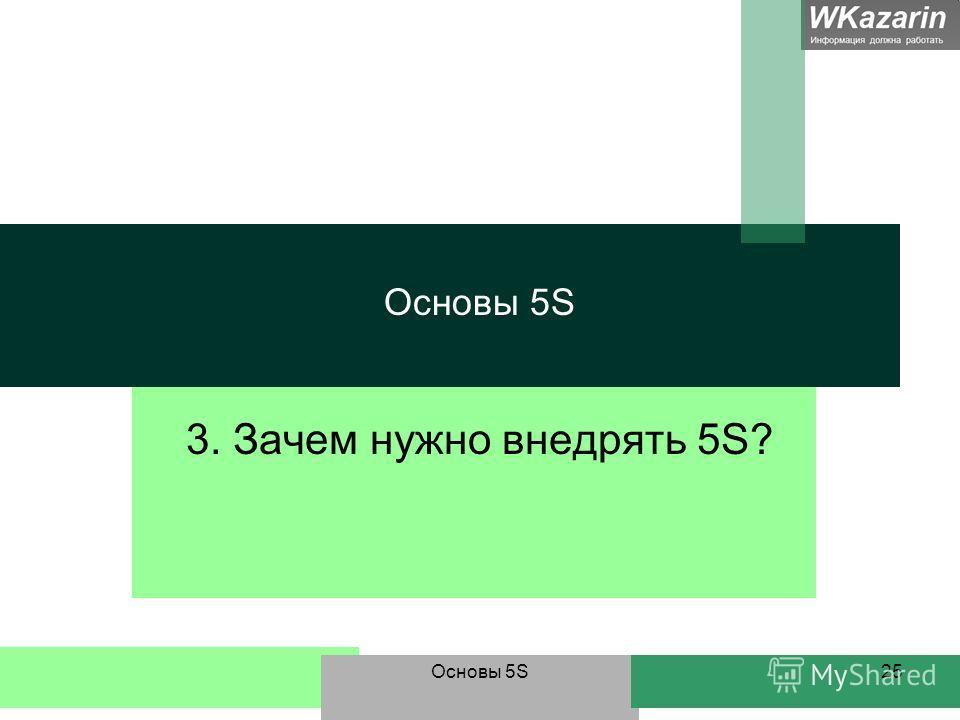 Основы 5S25 Основы 5S 3. Зачем нужно внедрять 5S?