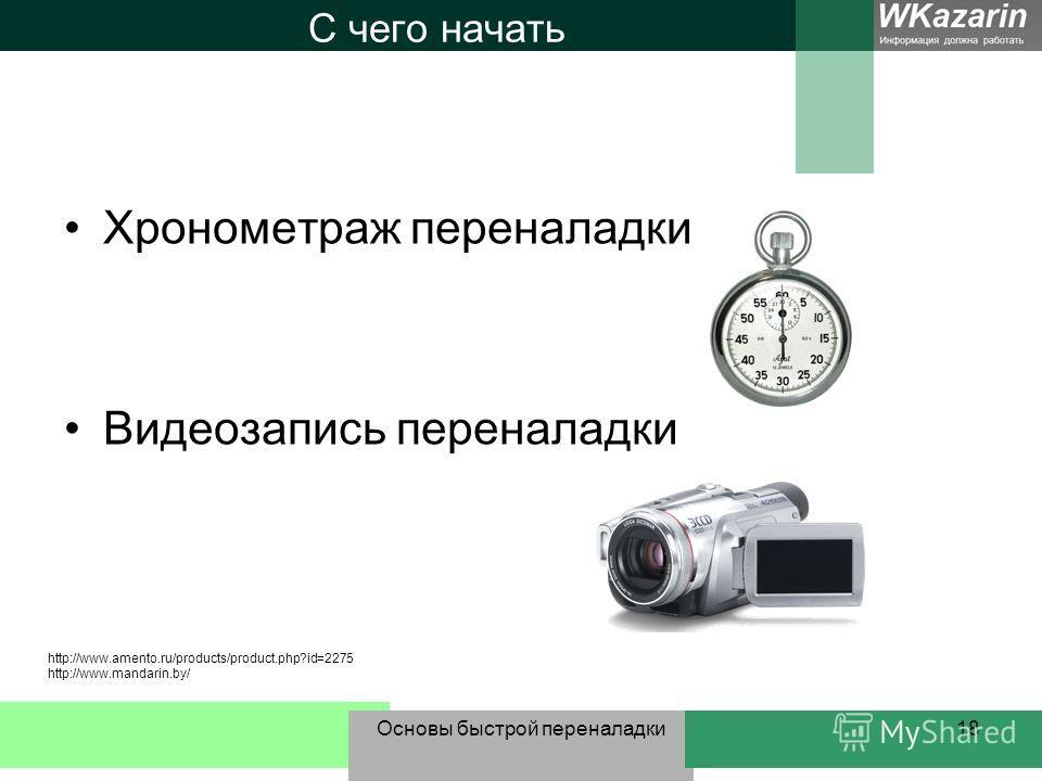 Основы быстрой переналадки18 С чего начать Хронометраж переналадки Видеозапись переналадки http://www.amento.ru/products/product.php?id=2275 http://www.mandarin.by/