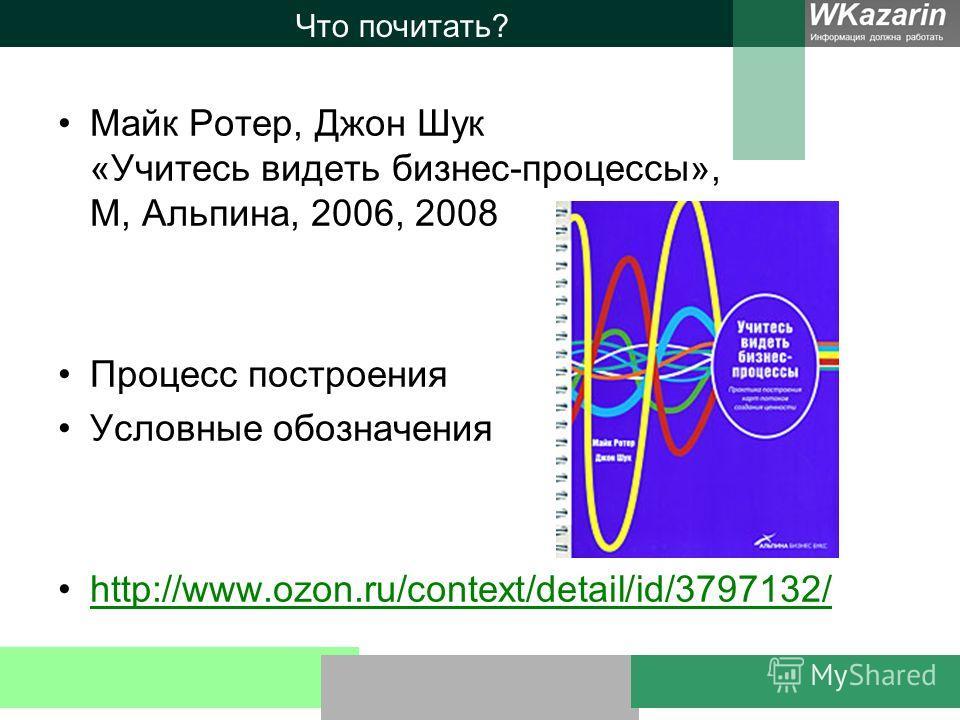 Что почитать? Майк Ротер, Джон Шук «Учитесь видеть бизнес-процессы», М, Альпина, 2006, 2008 Процесс построения Условные обозначения http://www.ozon.ru/context/detail/id/3797132/