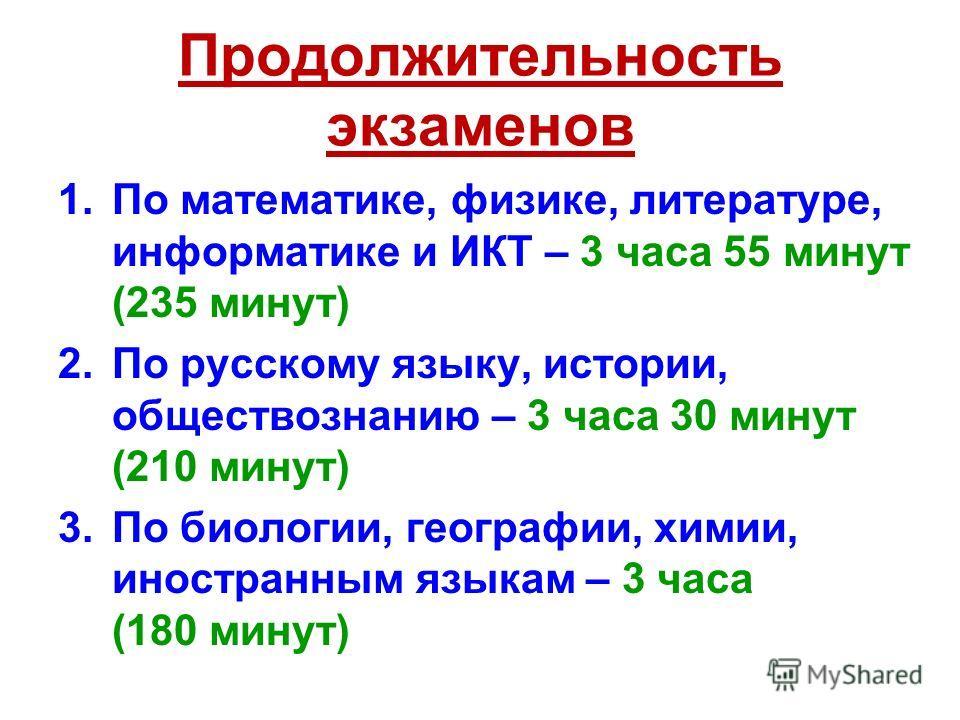 Продолжительность экзаменов 1.По математике, физике, литературе, информатике и ИКТ – 3 часа 55 минут (235 минут) 2.По русскому языку, истории, обществознанию – 3 часа 30 минут (210 минут) 3.По биологии, географии, химии, иностранным языкам – 3 часа (