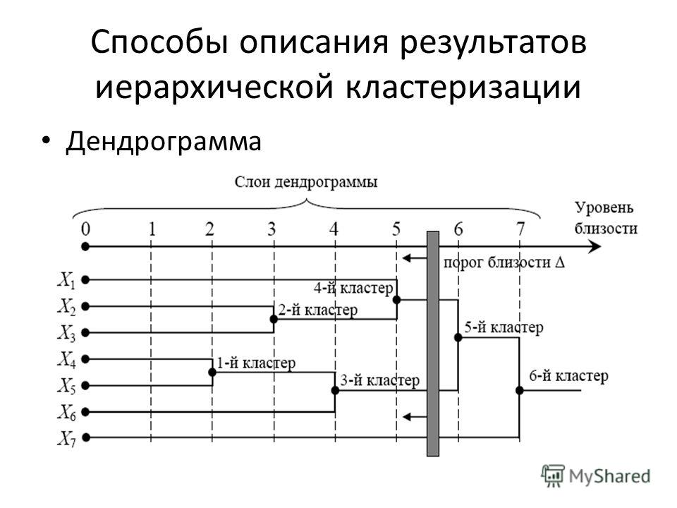 Способы описания результатов иерархической кластеризации Дендрограмма