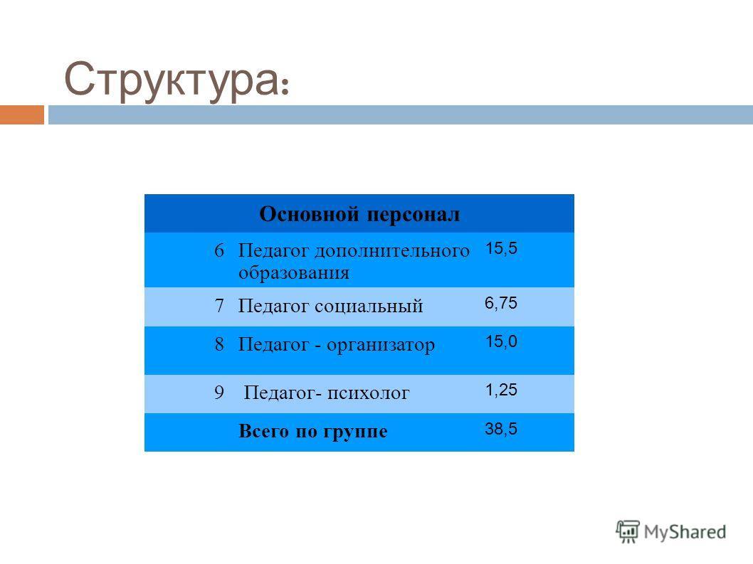 Структура : Основной персонал 6Педагог дополнительного образования 15,5 7Педагог социальный 6,75 8Педагог - организатор 15,0 9 Педагог- психолог 1,25 Всего по группе 38,5