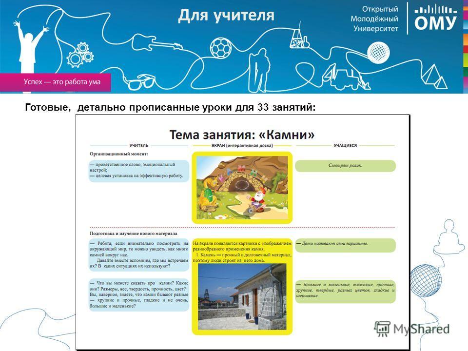 План-конспект Готовые, детально прописанные уроки для 33 занятий: Для учителя