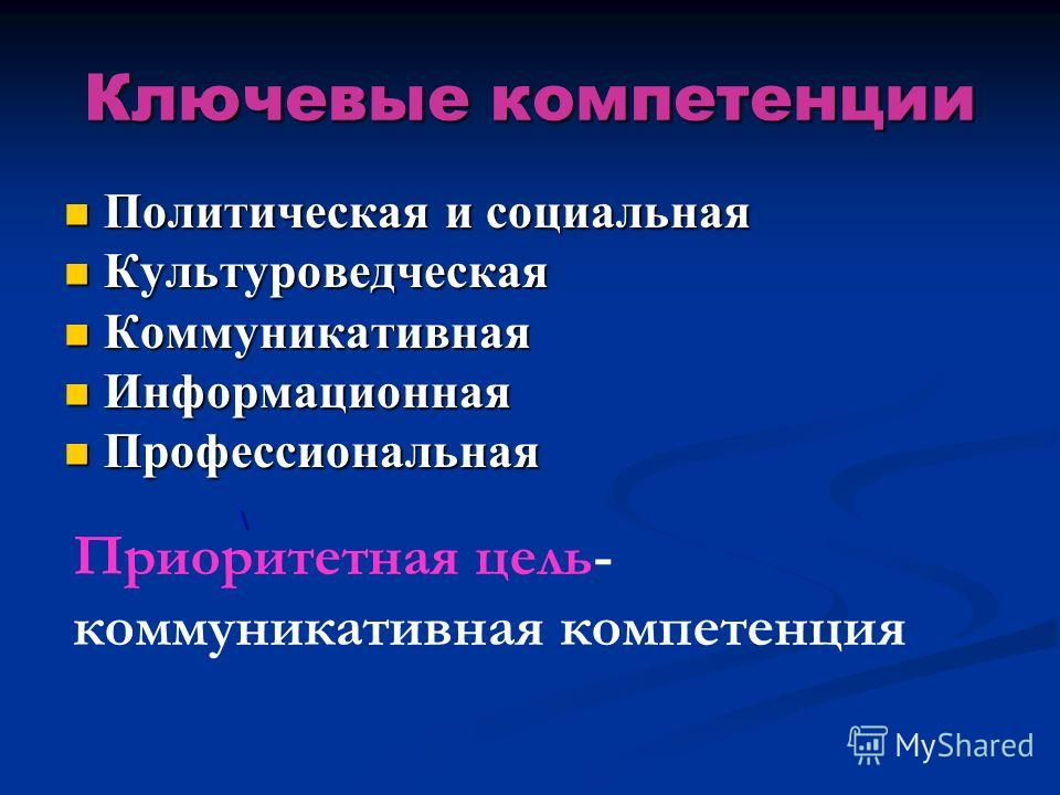 Ключевые компетенции Политическая и социальная Политическая и социальная Культуроведческая Культуроведческая Коммуникативная Коммуникативная Информационная Информационная Профессиональная Профессиональная \ Приоритетная цель- коммуникативная компетен
