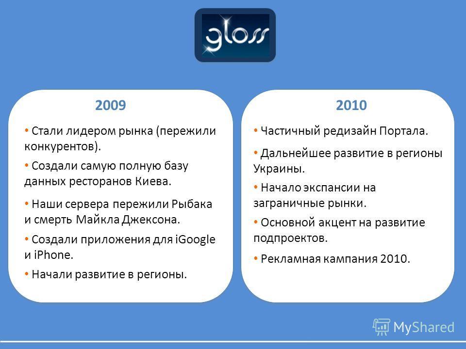 20092010 Начали развитие в регионы. Стали лидером рынка (пережили конкурентов). Создали самую полную базу данных ресторанов Киева. Создали приложения для iGoogle и iPhone. Наши сервера пережили Рыбака и смерть Майкла Джексона. Частичный редизайн Порт