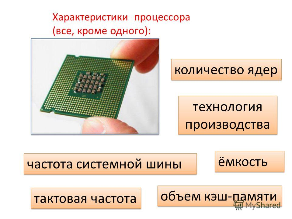 Характеристики процессора (все, кроме одного): тактовая частота частота системной шины количество ядер объем кэш-памяти технология производства ёмкость