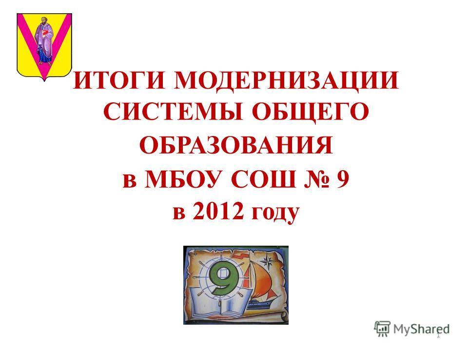 ИТОГИ МОДЕРНИЗАЦИИ СИСТЕМЫ ОБЩЕГО ОБРАЗОВАНИЯ в МБОУ СОШ 9 в 2012 году 1