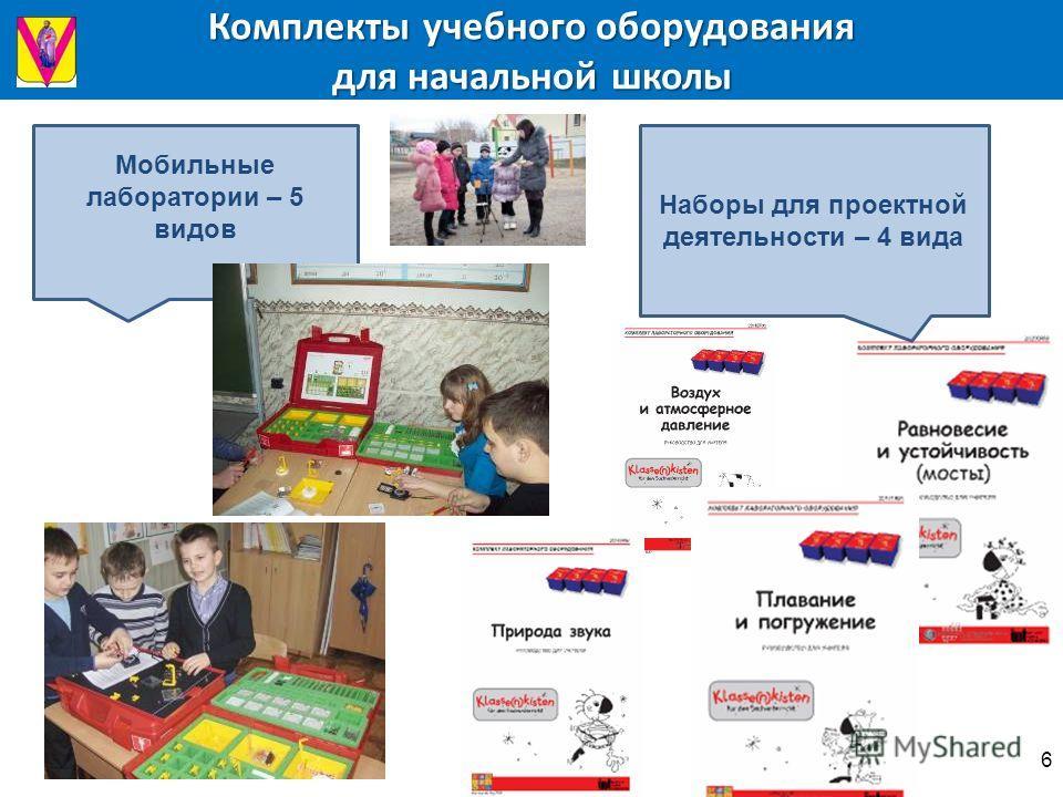 Комплекты учебного оборудования для начальной школы Мобильные лаборатории – 5 видов Наборы для проектной деятельности – 4 вида 6