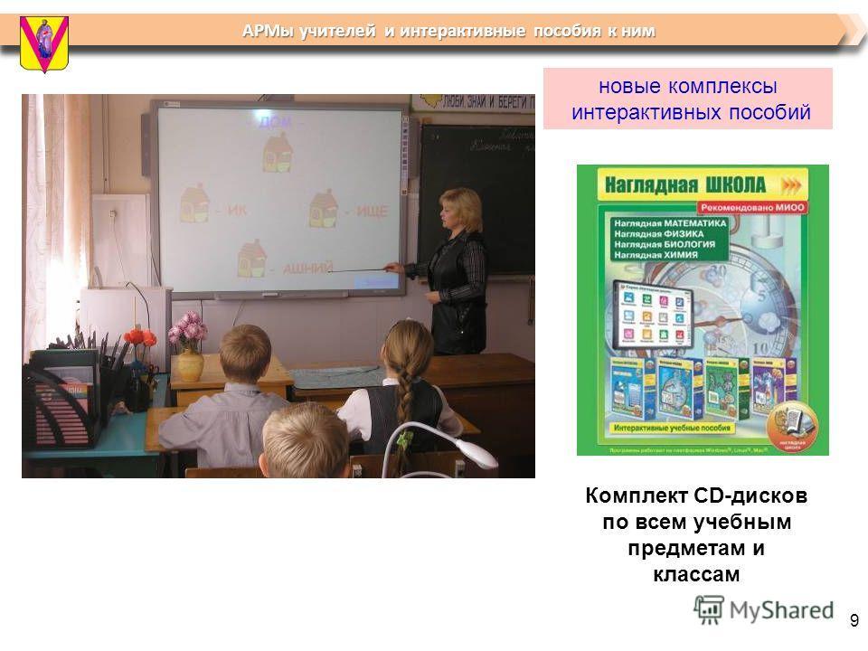 АРМы учителей и интерактивные пособия к ним АРМы учителей и интерактивные пособия к ним новые комплексы интерактивных пособий Комплект CD-дисков по всем учебным предметам и классам 9