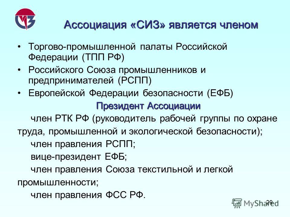 29 Ассоциация «СИЗ» является членом Торгово-промышленной палаты Российской Федерации (ТПП РФ) Российского Союза промышленников и предпринимателей (РСПП) Европейской Федерации безопасности (ЕФБ) Президент Ассоциации член РТК РФ (руководитель рабочей г
