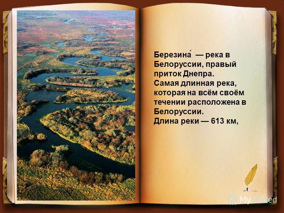Березина́ река в Белоруссии, правый приток Днепра. Самая длинная река, которая на всём своём течении расположена в Белоруссии. Длина реки 613 км,